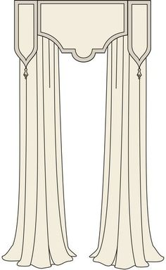 drawing cornice side panels, nice area for monogram or soutache and flanking tassels