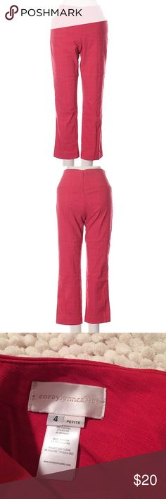 "Corey Lynn Calter Pants Like new Corey Lynn Calter Pants. Cropped leg cut, low rise waist. 23"" inseam. 76% viscose, 21% nylon and 3% spandex. Size 4P, red color Corey Lynn Calter Pants Ankle & Cropped"