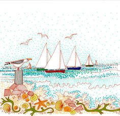 Sails shells and seagulls in Conwall. Seaside by SpindriftGallery