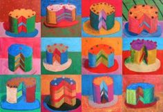 Wayne Thiebaud is an American artist who worked in the He is often associated with the Pop Art because of his choice of subjects (objects symbol of consumerism such as cakes, candies,… Wayne Thiebaud, Pop Art, 6th Grade Art, Ecole Art, Art Lessons Elementary, Arte Popular, Art Lesson Plans, Art Classroom, Art Plastique
