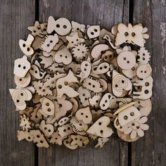 Over 150 Small Wooden Plain Craft Buttons Mixed Shapes 3mm Plywood 1-3cm Size