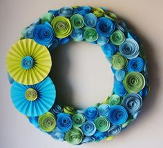Blue and Green 11 Inch Wreath Rolled Paper by SweetPeasFlorals, $33.00