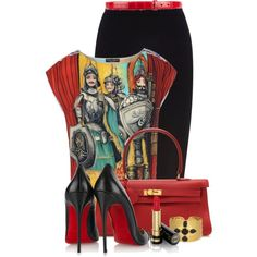 A fashion look from December 2014 featuring print shirts, pencil skirt and black shoes. Browse and shop related looks.