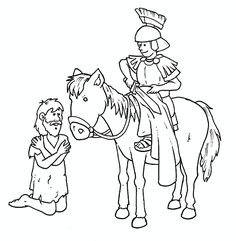 Hl Martin, Saint Martin, St Martin Of Tours, Saints Days, Line Illustration, Stories For Kids, Winter Time, Happy Day, Crafts For Kids