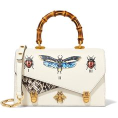 Gucci Ottilia small embellished elaphe-paneled printed leather tote (€2.745) ❤ liked on Polyvore featuring bags, handbags, tote bags, gucci, totes, white, white leather purse, leather handbags, gucci handbags and handbags totes