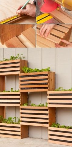 separate backyard into rooms with this idea How to: Make a Modern, Space-Saving Vertical Vegetable Garden by julia