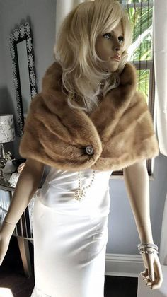 c896c727 Luxury Vintage Mink Fur Stole - Bridal Fur Bolero Shrug - Real Mink Wrap -  Fur