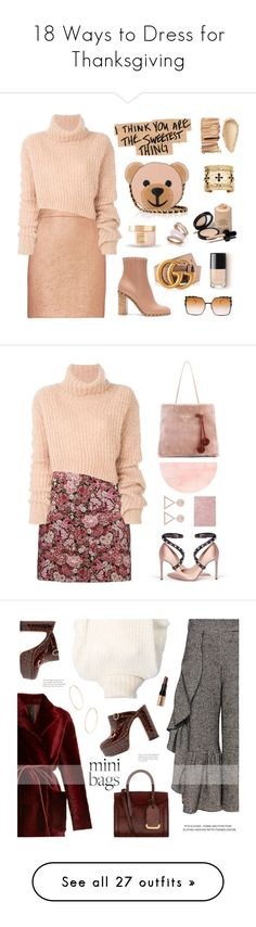 """18 Ways to Dress for Thanksgiving"" by polyvore-editorial ❤ liked on Polyvore featuring thanksgiving, Valentino, Carven, Gucci, Paul & Pitü Naturally, Bobbi Brown Cosmetics, Armani Privé, Ann Demeulemeester, Moschino and Fendi"