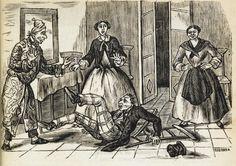 Xilografía alusiva en cabecera de un hombre que se ha caído al suelo, hay un silla rota, otro hombre y dos mujeres de pie en la habitación, una de ellas sonríe.