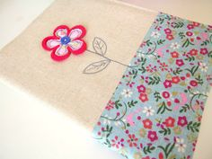 Embroidered fabric notebook cover with crochet and fabric daisy - includes A5 notebook