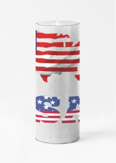 Large Accent Candle - United States Of America in Blue/Purple/Red by VIDA Original Artist Wax Wraps, Vida Design, Burning Candle, Thoughtful Gifts, Fragrance, United States, America, Candles, The Originals
