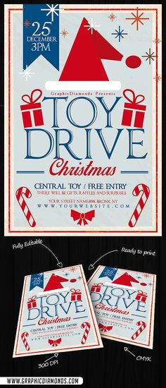 Toy Drive Christmas Flyer by GraphicDiamonds on Creative Market Christmas Flyer, Christmas Poster, Christmas Toys, Drop Box Ideas, Food Drive Flyer, Drive Poster, Holiday Market, Christmas Central, Christmas Printables