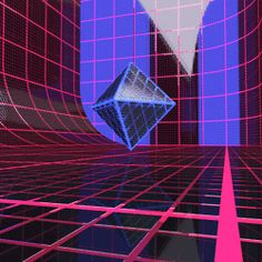 animated gif 80s grid motion graphics blender Cycles octahedron displacement b3d