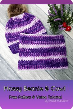 Mossy Beanie & Cowl ByKaterina ByKaterina Free Pattern for sizes from Baby to Adult with video tutorial. A great project and gift for Xmas Crochet Beanie Pattern, Crochet Cap, Love Crochet, Crochet Scarves, Crochet Winter, Crochet Patterns For Beginners, Easy Crochet Patterns, Crochet Designs, Crochet Ideas