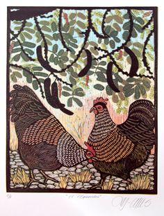 linocut, Hens under a Carob tree, vibrant colours on white paper. $225.00, via Etsy.