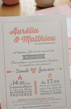 Aurelia et Matthieu, suite de mariage Letterpress et numérique