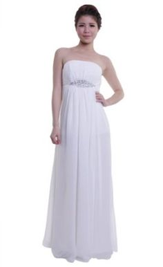 Moonar Chiffon Strapless Straight Across A Line Prom Formal Gown Party Bridesmaid Wedding Dress,
