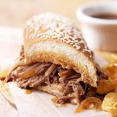 For a delicious meal, try this Simple French Dip Sandwich! More slow cooker sandwich recipes: http://www.bhg.com/recipes/slow-cooker/slow-cooker-sandwich-recipes/?socsrc=bhgpin093013frenchdip&page=13