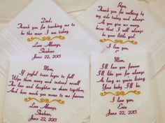 FOUR Embroidered WEDDING Handkerchiefs GIFTS 4 by NapaEmbroidery
