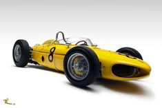 1961 Ferrari Tipo 156 Sharknose as driven by Olivier Gendebien. Ferrari F1, Lamborghini, Vintage Sports Cars, Vintage Race Car, Sport Cars, Race Cars, Motor Sport, Formula 1 Car, Yellow Car