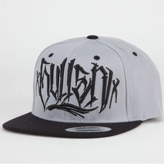 """Grey & Black Diego Snap-Back Hat by Sullen: This hat has a snap back so you can adjust it to fit your head perfectly. It has """"Sullen"""" script embroidered on the front and the Sullen logo embroidered on the back. The script name and logo are also screen printed on the underside of the hat's bill. Features contrast eyelets, top pin, and bill. Retail Price: $27.99"""