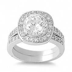 Fallon's Grand Round Cut Cubic Zirconia Wedding Ring Set - Only $67.95 — Fantasy Jewelry Box