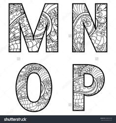 Set of vector big letters with pattern doodle. Doodle Alphabet, Doodle Art Letters, Drawing Letters, Doodle Lettering, Alphabet Art, Valentine Coloring Pages, Adult Coloring Pages, Coloring Books, Coloring Letters