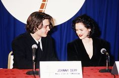 """""""We've been married for years, we just didn't tell anybody."""" Johnny Depp and Winona Ryder in the press conference room after winning their ShoWest Awards for Male and Female stars of Tomorrow, 1990 http://winonaforever.tumblr.com/"""