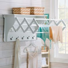 The Accordion Drying Rack is a space-saving way to air-dry delicates in laundry room or a bathroom.