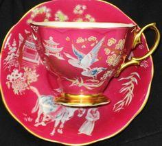 4:00 Tea...Royal Albert...Oriental Bird (Pink Combo) teacup and saucer