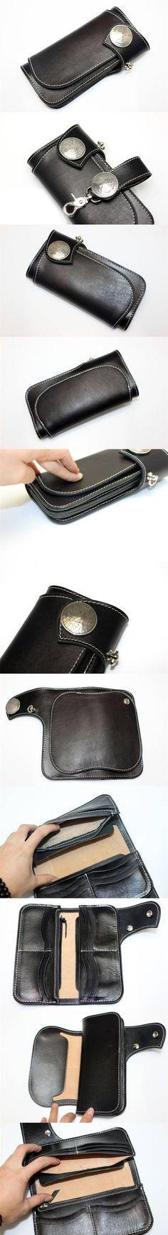 New Black Leather Handmade Mens Biker Rocker Redmoon Goro Style Wallet w Concho   eBay