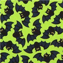Tela verde lima de murciélagos Halloween de Timeless Treasures EE. UU.