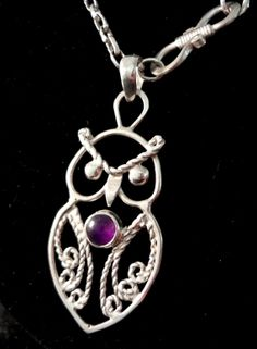 Celtic Filigree Amethyst Owl Necklace by Tamsjewelrydesigns, $39.00