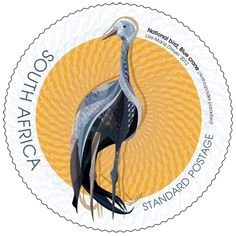 South African Blue Crane stamp (the national bird of South Africa) Union Of South Africa, Office Stamps, African Symbols, South African Design, World Birds, National Symbols, African History, Stamp Collecting, Postage Stamps
