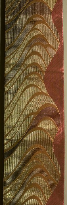 """Japanese Fukuro Obi 1950s or 1960s. 12""""x 168"""" Decorated section: 12""""x 103"""" Brocaded throughout with metallic and lacquered threads."""