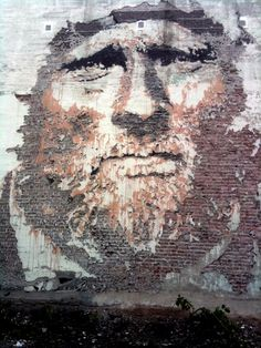 Vhils (Alexandre Farto) - another large-scale portrait done by scratching the plaster out of the wall. Great work! http://restreet.altervista.org/la-tecnica-esplosiva-di-vhils/