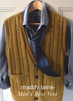 Nice. Classic. Sweater Vest Outfit, Vest Outfits, Easy Knitting Patterns, Lace Knitting, Men's Waistcoat, Knit Vest Pattern, Dress Gloves, Yarn Brands, Classic Man