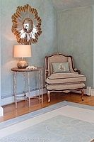 lime washed clay plaster, barbara berry chenille, painted floor cloth--lisa teague studios