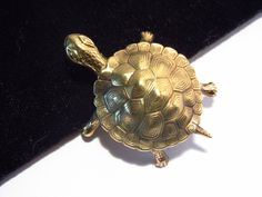 Signed Turtle Brooch by Carl Art Gold Filled Vintage Figural Pin (16.00 USD) by darsjewelrybox
