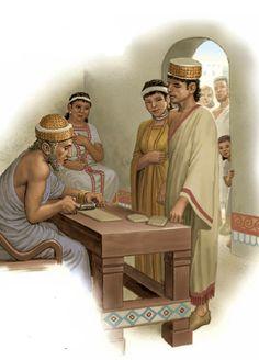 Habiendo recibido el precio de la novia y su consentimiento para el matrimonio de su hija, el padre añade su sello en el contrato, mientras que la madre de la novia mira a la feliz pareja. Sumeria.