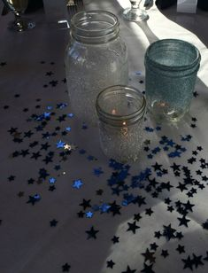 Sparkle Mason Jar Centerpieces for Starry Night or Night under the Stars Theme by elvia