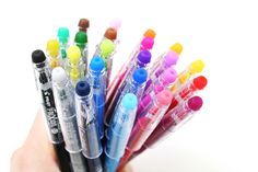 Gel pens that erase!  You can also use them to send secret messages: write something with your Pilot FriXion and erase it, then pop your note in the freezer--it will magically reappear!