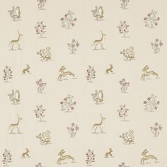 Clemence Fabric A curtain fabric featuring naively woven forest animals and wild flowers in crewel-work embroidery. Woven in vanilla, silver, caramel and red on a cream ground.