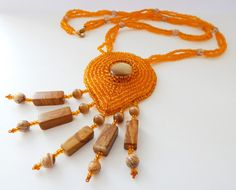 Beaded necklace The Sun of Savanna - orange embroidered seed bead jewelry - handmade beadwork with jasper and cat's eye, leather backside