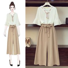 Women Summer Bow V-neck Batwing Short Sleeve Loose Casual Blouse + Tunic High Waist Lacing Wide Leg Pants Two Piece Set Girls Fashion Clothes, Teen Fashion Outfits, Cute Fashion, Look Fashion, Girl Outfits, Cute Outfits, Fashion Drawing Dresses, Fashion Dresses, Moda Disney