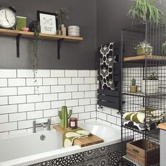25 Inventive Bathroom Storage Ideas Made Easy The perfect savvy storage! Just look at how handy our High Wire shelves are. We love how ahouseonashbank has used them for stashing bathroom bits n bobs. Thanks for sharing, Emma! Cottage Bathroom Design Ideas, Bathroom Interior Design, Cottage Design, Bathroom Designs, Bad Inspiration, Bathroom Inspiration, Furniture Inspiration, Botanical Bathroom, Industrial Bathroom