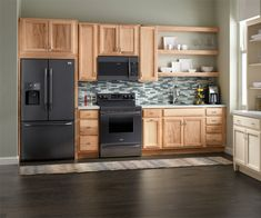 Hickory Cabinets Cardell Kitchen Cabinets - Springmont Square in Natural Benefits of Hardwood Floors Kitchen Cabinet Sizes, Frameless Kitchen Cabinets, Hickory Kitchen Cabinets, One Wall Kitchen, Refacing Kitchen Cabinets, Basement Kitchen, Custom Kitchen Cabinets, New Kitchen, Cabinet Refacing