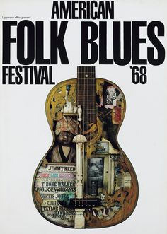 Günther Kieser poster design for American Folk Blues Festival 1968. Jimmy Reed, John Lee Hooker. Lippmann + Rau, Frankfurt. Via plakatkontor