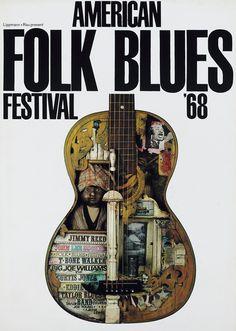 Günther Kieser poster design forAmerican Folk Blues Festival 1968. Jimmy Reed, John Lee Hooker.Lippmann + Rau, Frankfurt. Via plakatkontor