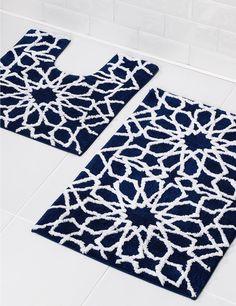 Tapis de bain et contour lavabo/WC à imprimé étoiles de style géométrique -M&S